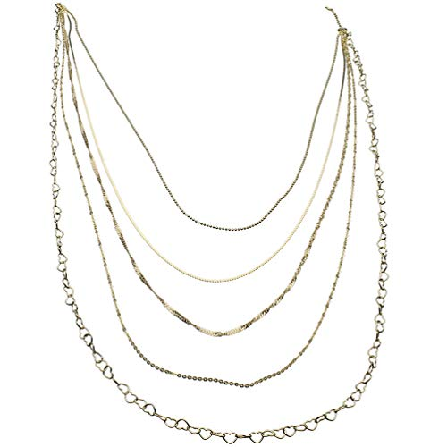 (18k Gold-Flashed Sterling Silver Multi-strand Long Layered Chain Necklace Italy, 36
