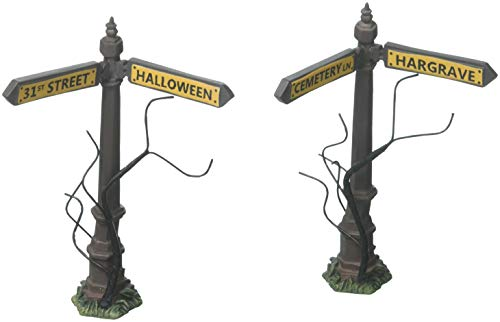 Department 56 Halloween Village Collections Creepy Street Signs Accessory Figurine, Multicolor (6001741) -
