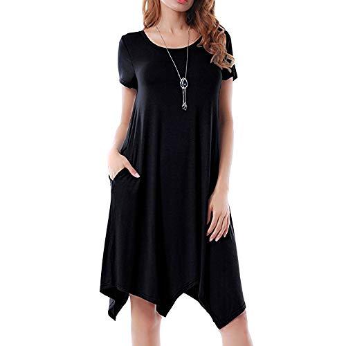 HAALIFE◕‿Women's Pockets Casual Swing Loose T-Shirt Dress Black]()