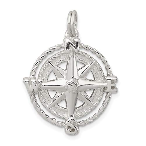 Sterling Silver Compass Rose Charm Pendant Jewelry
