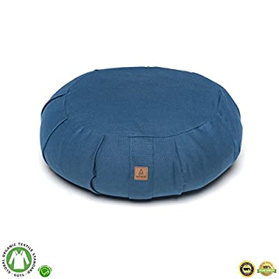 Buckwheat Meditation Cushion – Crescent or Round Zafu Yoga Pillow | 7 Colors | Zippered Organic Cotton Cover & Liner to Add or Remove Hulls | Machine Washable | Carrying Handle & GOTS Certified