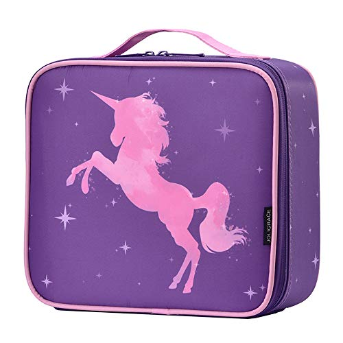 Joligrace Unicorn Makeup Bag Gift for Girl Travel Cosmetic Leather Organizer Makeup Train Case with Adjustable Dividers Portable Make Up Storage Jewelry Accessories – Purple
