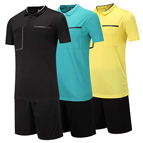 Shinestone Men and Women Soccer Short Sleeves Referee Jersey Referee T-Shirt (Black, Medium) ()