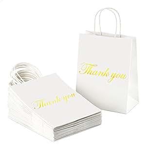 Amazon.com: Bolsas de regalo de papel kraft con asas, papel ...