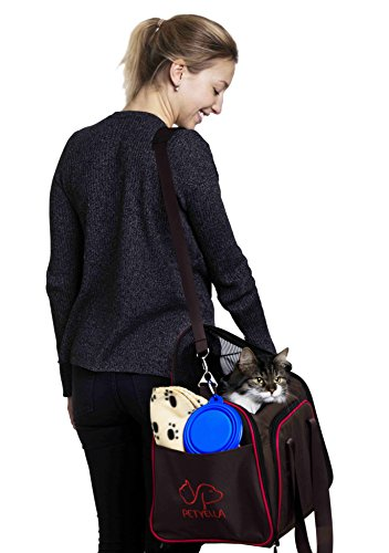 Expandable Pet Cat Carrier for Small Dogs and Cats - Soft Sided Crate - Airline Approved Medium Kennel Travel Bag - Fits Under or Top of Seat - 2.8 lbs Dog Carriers with Bonus Blanket & Bowl