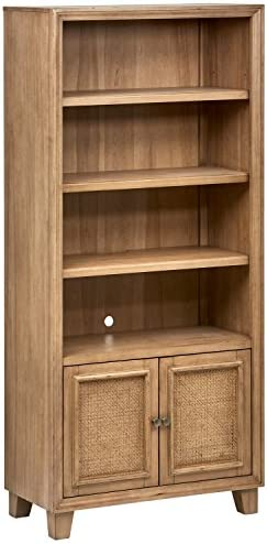 Stone Beam Casual Wood Bookcase, 34 W, Natural Rattan
