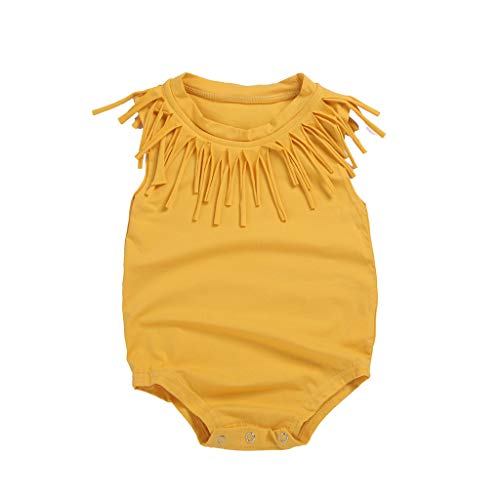 (LiLiMeng Summer Infant Baby Boys&Girls Sleeveless Solid Print Tassels Romper Bodysuit Casual Clothes Yellow)