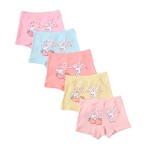 Baby Girls Rabbit Boyshort Panties 5 Pack Boxer Shorts Briefs for Kids 1-3 Years Orange