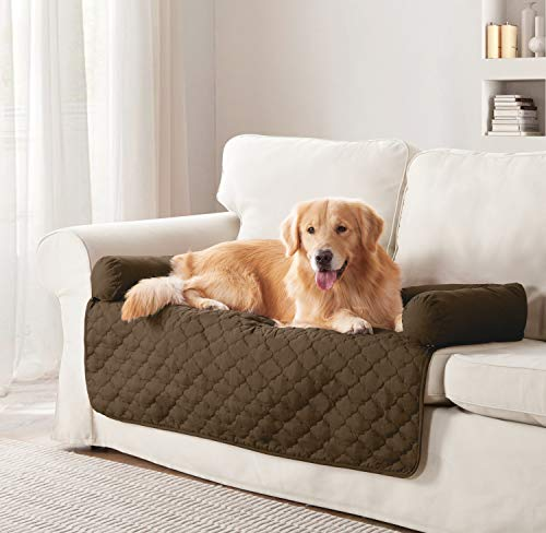 Quick Fit Wubba Reversible Pet Bed Sofa Couch Cover for Dogs, 45×34, Chocolate-Natural