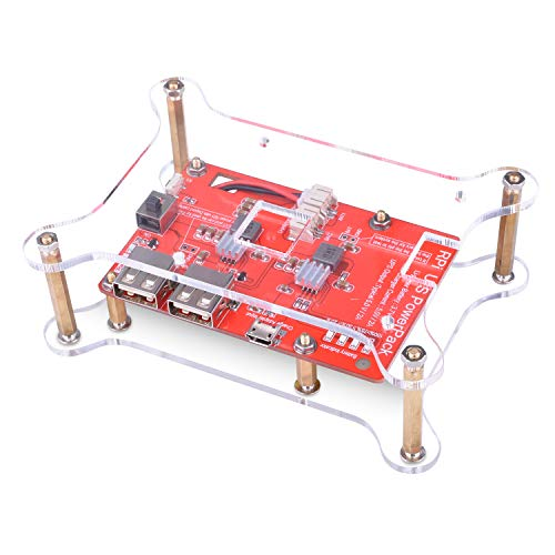 Quimat Lithium Battery Pack Expansion Board for Raspberry Pi 3, Power Pack Power Supply with USB Cable and 2 Layer Acrylic Board for RPi 3 2 Model A A+ B B+ 3800mAh 5V/1.8A