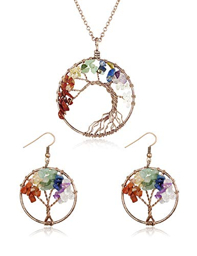 Tree of Life Wire Wrapped 7 Reiki Chakra Natural Stone Pendants Necklace Dangle Earrings Set Jewelry ()