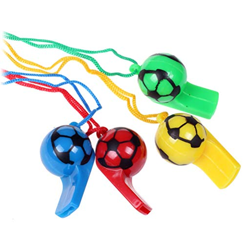 BESTOYARD Plastic Football Soccer Whistles Colorful Cheerleading Referee Whistle with Rope Kids Toy for Sports Outdoor Activity Party Supplies (Random Color) -