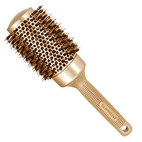 SUPRENT Blowout Nano Thermic Ceramic & Ionic Round Barrel Hair Brush with Boar Bristle, Roller Hairbrush for Blow Drying, Curling&Straightening, Volume&Shine (3.3
