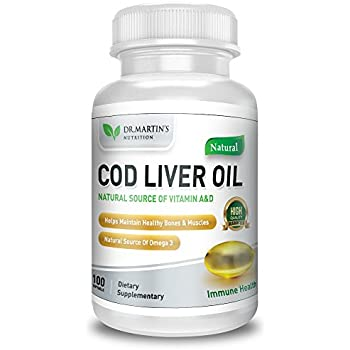 COD LIVER OIL | 100 Softgels | Natural Source Of Omega 3 Fatty Acids | 100% Organic Capsules | Triple Strength | Best Immune Health, Healthy Bones & Muscles ...