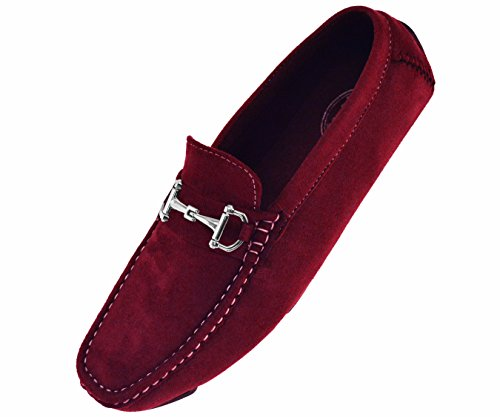 - Amali Mens Burgundy Plush Microfiber Loafer Driving Shoe with Silver Buckle: Style Walken-175 Burgundy 8.5 D(M) US