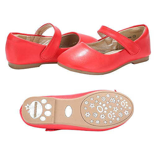 PANDANINJIA Girls Susie Red Party Wedding Ballerina Ballet Mary Janes Flats Dress Shoes (Toddler/Little Kid)