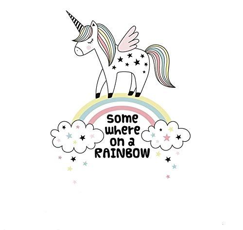 Pegatina transfer parche termoadhesivo unicornio arco iris de 25 x ...