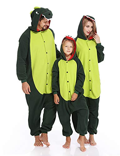 Adult Onesies Dinosaur Pajamas Animal One Piece Cosplay Halloween Xmas Costume for Men Women ()