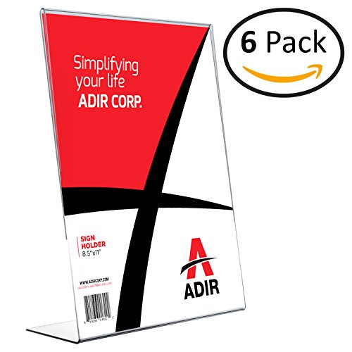 Adir Plexi Acrylic 8 5  X 11  Single Slant Back Design Sign Holder   Clear   Pack Of 6