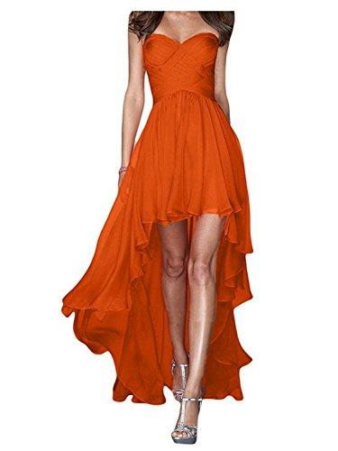 Kleid Orange Abendkleid Cocktailkleid Hoch Niedrig Partykleid Chiffon Brautjungfernkleider JAEDEN RznqSExwT