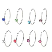 YTE 8PCS 20G Stainless Steel Nose Ring Hoop CZ Body Ear Piercing Mixed Colors CZ 1.5mm