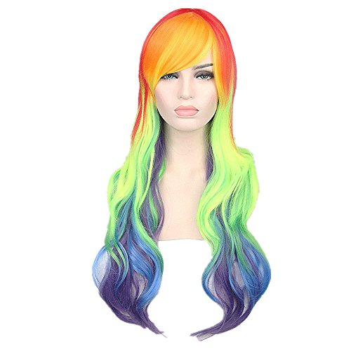 Poem&Future Women's Cosplay Costume Pony Tail Wig Girl's multicolored Long Curl Rainbow Wigs (Multicolors)
