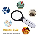 Magnifying Glass, BearMoo 3X 45X Handheld Reading
