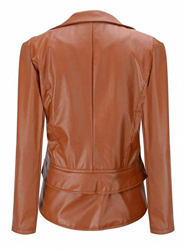 amp;W Zipper Faux amp;S M 1 Women's Slim Jackets Lapel Closure PU Coat 5I0q6wqxp
