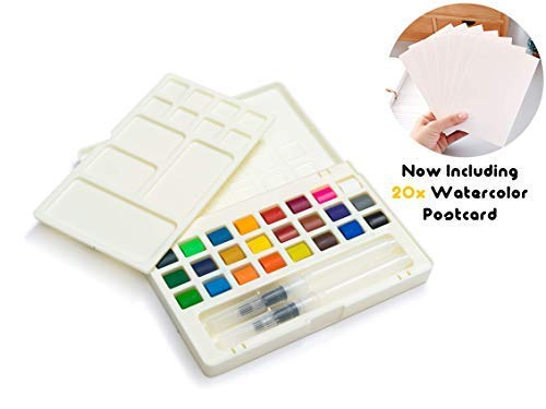 Umiko Watercolors, For The Apprentice of the Craft - Now Including 20 Cold-Pressed Watercolor Postcards & Everything You Need To Become a Master of Watercolors-Get Your Set Today Before Its All Gone! ()