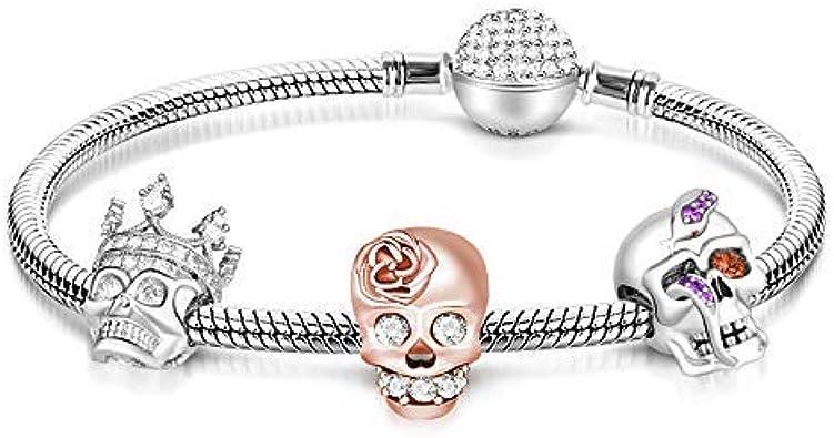 Amazon.com: GNOCE Skull Charm Bracelet for Women 925 Sterling ...