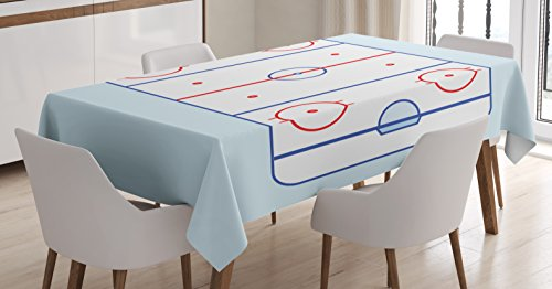 Ambesonne Hockey Tablecloth, Ice Hockey Field in Blue Tones and Red Graphic Outline for Sport Events, Dining Room Kitchen Rectangular Table Cover, 52