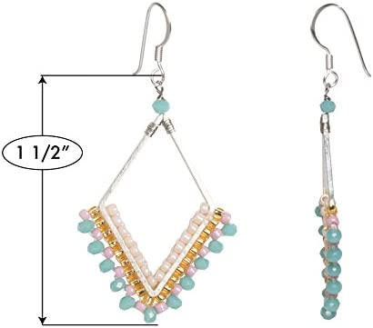 Joop Joop Handmade Brass Crystal Modern Boho Geometric Beaded Drop Fashion Earrings