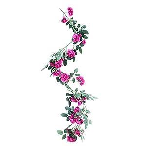 Artificial Flower Fake Silk Rose Plant Garland Vine Hanging Rattan for Home Wedding Decor(5#) 21