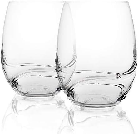 Bar Amigos Turbulence Deluxe Decanting - Copas de vino de cristal de Bohemia sin pie, diseño especial en forma de onda único para un mejor aireado, 500ml transparente