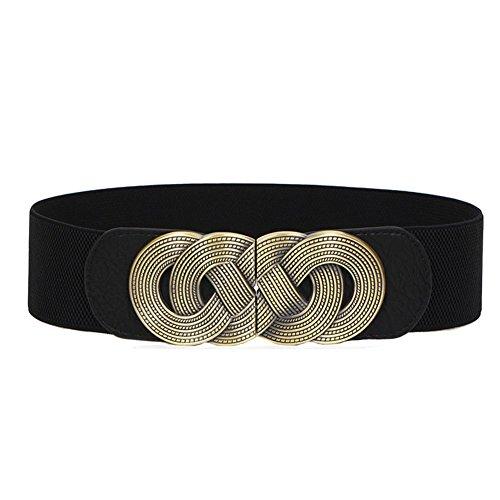 Theresahay Metal Buckle Wide Elastic Stretch Waist Belt Waistband for Women (Black)