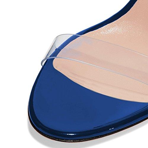 Fsj Donne Sandali Punta Chiara Aperti Stiletto Tacco Alto Calzature Partito Sexy Di Dimensioni 4-15 Noi Blu