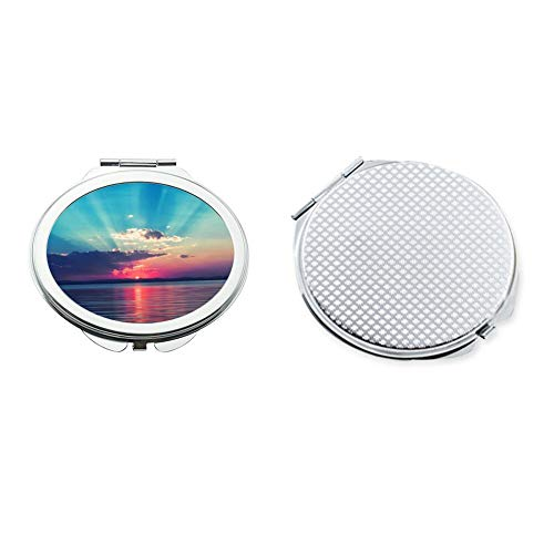 Circular Make Up Mirror Small Fold Planar Mirror for Purse Pocket Sunset -