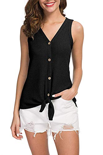 Textured Knit Top - Pink Wind Women's Button Down V Neck Casual Knit Tie Knot Tee Shirts Sleeveless Blouses Tops S Black