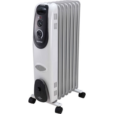 Pelonis Automatic Ultra Quiet 7 Fin, Oil-Filled Electric Radiator Heater with Adjustable Thermostat by Pelonis Oil Filled Heaters Pelonis