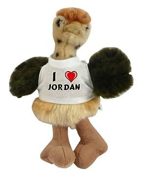 Avestruz personalizado de peluche (juguete) con Amo Jordan en la camiseta