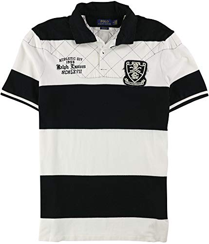 (Polo Ralph Lauren Men's Classic Fit Embroidered Patch Logo Rugby Shirt - L - White/Black)