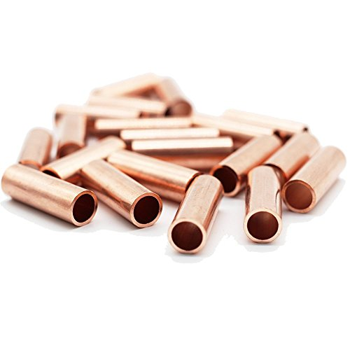 Metal Macrame Brass Copper Golden Tube Bead Ring for DIY Macrame Wall Hanging Plant Holder Craft DIY Kit 20 Pieces 1.2'' Long Large Hole (Copper Metal Thread)