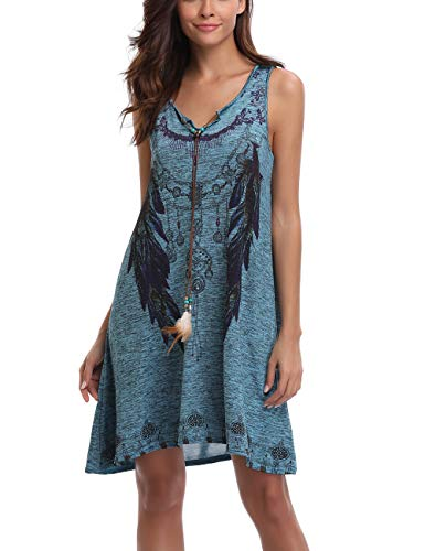 Peiqi Women's Print Dress Sleeveless Notched Lapel Feather Print Summer Casual Dress Navy Blue Small