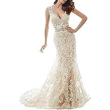 YSMei Women's V Neck Bridal Gowns Long Sleeveless Tulle Wedding Dresses YWD164