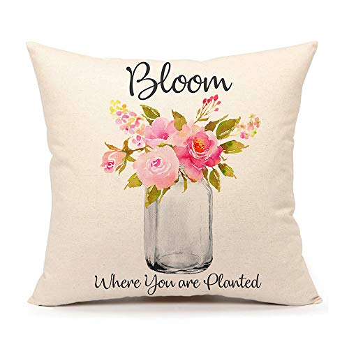 4TH Emotion Shabby Chic Roses in Mason Jar Throw Pillow Cover Summer Farmhouse Cushion Case for Sofa Couch 18 x 18 Inches Cotton Linen (Where You are Planted) (Chic Outdoor Shabby)