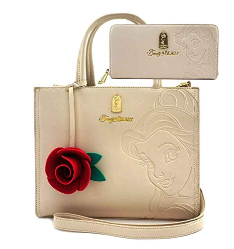 Disney Beauty and Beast Belle Tote Bag and Wallet Set by Loungefly (Beige)