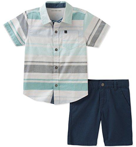 Calvin Klein Boys' Little 2 Pieces Shirt Shorts Set, White/Gray/Green, 5 by Calvin Klein