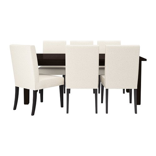 Ikea Table and 6 chairs, brown-black, Linneryd natural 162020.52311.1434