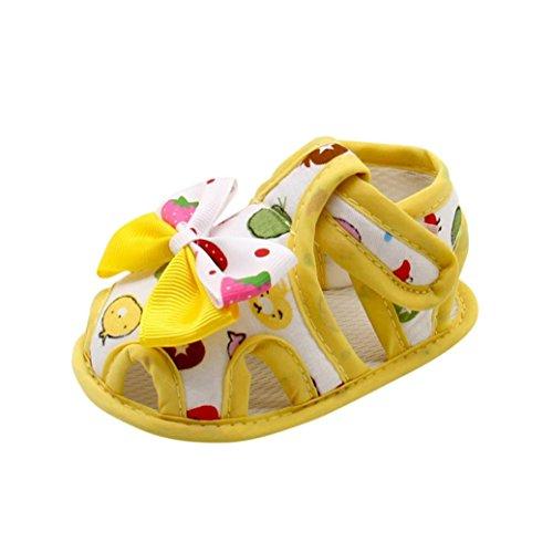 OverDose Neugeborene Säugling Baby Mädchen Sommer Bogen Soft Sohle Kleinkind Anti Rutsch Schuhe Sandalen Gelb