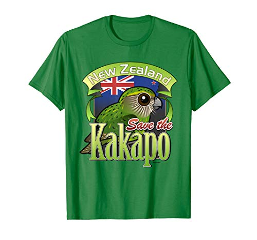 Cute Cartoon Kakapo Parrot T-Shirt   Bird of New Zealand ()